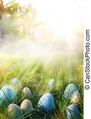 arte, coloridos, ovos páscoa, em, a, capim, ligado, céu, fundo