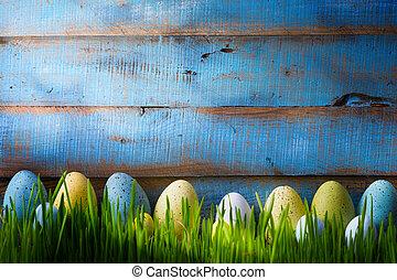 arte, coloridos, páscoa, eggs., fundo, com, ovos páscoa, ligado, grama verde
