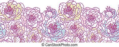 arte, coloridos, padrão, seamless, fundo, linha, flores, borda, horizontais