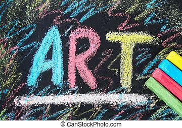 arte, colorito, testo, gesso, chalkboard., disegnato
