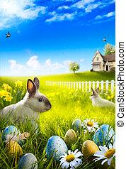 arte, conejito de pascua, conejo, y, huevos de pascua, en,...