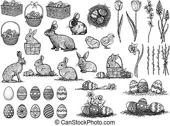 arte, conjunto, dibujo, ilustración, línea, pascua, grabado