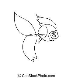 arte, contínuo, linha, vetorial, fish.