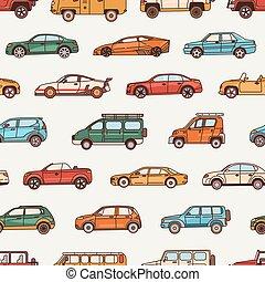 arte corpo, moderno, style., differente, modello, -, seamless, vario, pickup, stili, automobili, illustrazione, automobili, linea, configurazione, hatchback., cabriolet, vettore, types., bussola, fondale