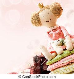 arte, cosendo, acessório, fundo, com, boneca