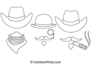 arte, cowboy, avatars, 3, nero, occidentale, linea, bianco