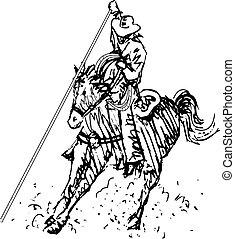 arte, cowboy, rodeo, occidentale, linea, cavaliere