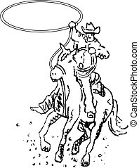 arte, cowboy, rodeo, occidentale, linea, cavaliere