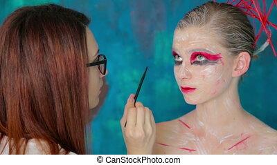 arte, creare, trucco, faccia, trucco, professionale