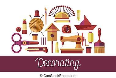 arte, creativo, decorazione, vettore, artigianato, attrezzi