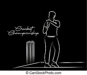 arte, cricketer, drawing., revisión, -, solo, necesidad,...