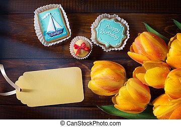 arte, cumpleaños, tarjeta de felicitación