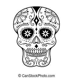 arte de línea, cráneo, azúcar
