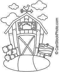 arte de línea, granero, casa