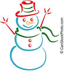 arte de línea, hombre de la nieve