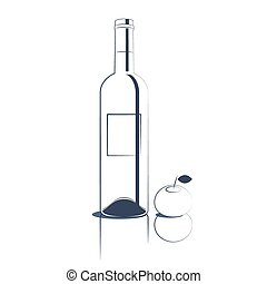arte de línea, vino blanco, botella