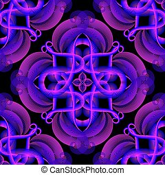 arte decorativa, abstratos, modernos, néon, desenho, iluminado, pattern., seamless, flores, experiência., glowing, backdrop., coloridos, shapes., halftone, effects., floral, linha, vibrante, repet, vetorial, brilhante