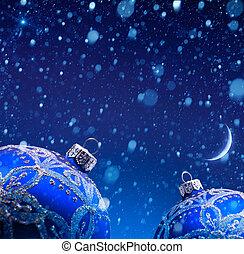 arte, decorazione natale, in, neve