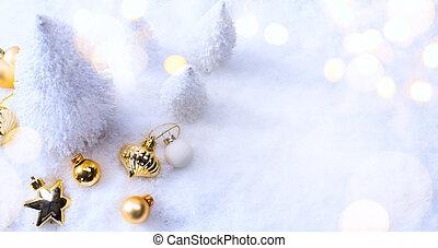 arte, decorazione natale, su, neve, fondo