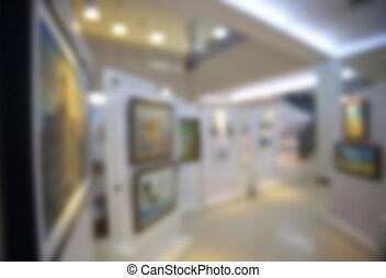arte, defocus, museu, fundo borrado, galeria