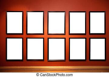 arte, dentro, pictures., bianco, galleria, empy
