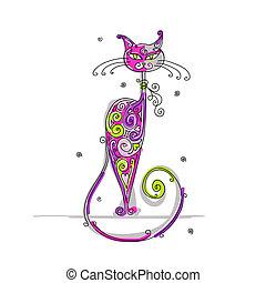 arte, desenho, seu, gato