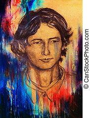 arte, dibujo, cara del hombre, y, sepia, fondo.