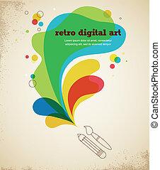 arte digital, cartel, con, salpicadura, color