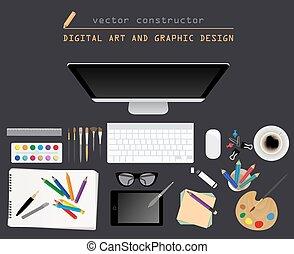 arte digital, y, diseño gráfico