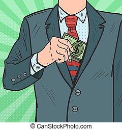 arte, dinheiro, concept., pocket., estouro, casaco, suborno, vetorial, pôr, ilustração, paleto, homem negócios, corrupção