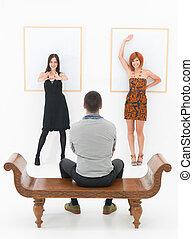 arte, dois, entretido, homem, galeria, mulheres