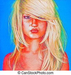 arte, donna, faccia astratta