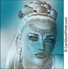 arte, donna, faccia, astratto
