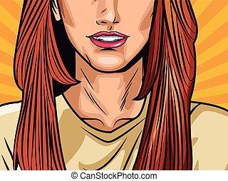 arte, donna, moda, cartone animato, pop