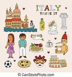 arte, doodle, viagem, vetorial, itália, turismo