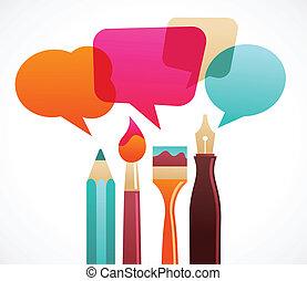 arte, e, escrita, ferramentas, com, fala, bubles