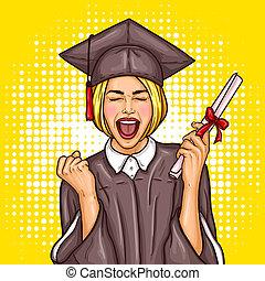 arte, ella, manto, universidad, gorra, diploma, taponazo, graduado, graduación, estudiante, niña, mano, excitado