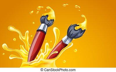 arte, escovas, amarela, criativo, paint., vector., desenho