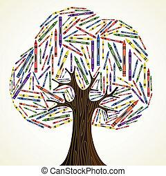 arte, escuela, concepto, árbol, educación