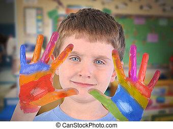arte, escuela, niño, con, pintado, manos