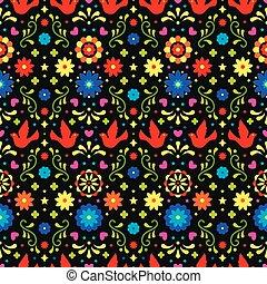 arte escura, tradicional, coloridos, padrão, mexico., ornament., fiesta, seamless, flores, experiência., desenho, folclore, folhas, floral, mexicano, partido., pássaros, povo