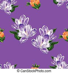 arte, fiore, seamless, su, viola, fondo