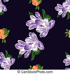 arte, fiori, seamless, su, viola, fondo