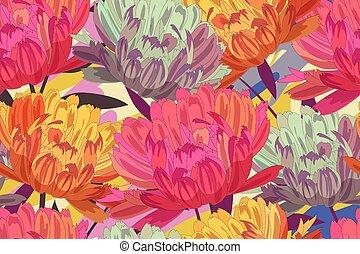 arte floral, asters., vector, seamless, patrón