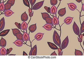 arte floral, vetorial, pattern., seamless