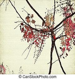 arte floreale, su, costoluto, carta, fondo