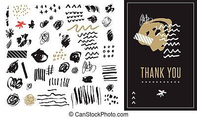 arte, formas, mão, vetorial, pretas, desenhado, doodles, branca, elementos