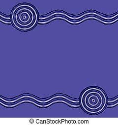 arte, format., aborigeno, vettore, fondo, australiano