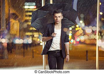 arte, foto, de, a, modelo, andar, chuva