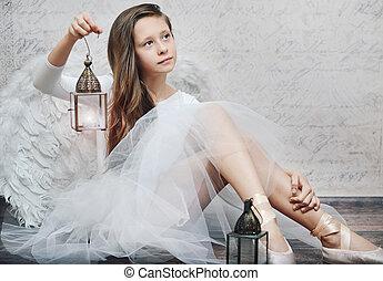 arte, foto, de, jovem, bailarino balé, com, lâmpada